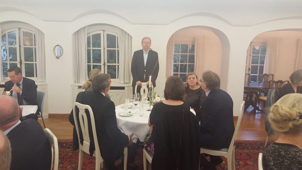 Lars Danielsson speaking at dinner for Vice-Chancellors et al.